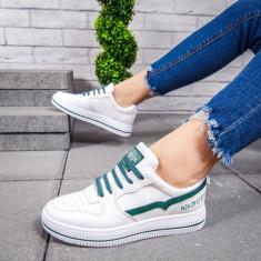 Pantofi sport dama albi cu turcoaz Trinia