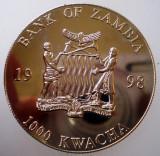 5.352 ZAMBIA EUROPEAN UNITY ONE CURRENCY 20 EURO 1000 KWACHA 1998 PROOF 38mm