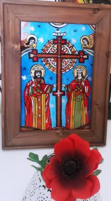Sfintii Constantin si Elena _Icoană pictată pe sticlă foto