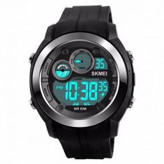 Ceas Barbatesc SKMEI CS901, curea silicon, digital watch, Functii- alarma, ora, data, cadran luminat, rezistent 5ATM, negru foto