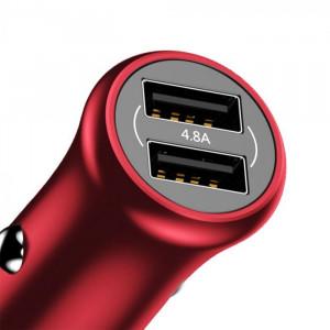 Incarcator Auto Baseus, Gentleman Universal, 2 x USB 4.8A, Rosu