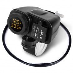 Priza USB x 2 si Voltmetru si Termometru pentru moto, led galben