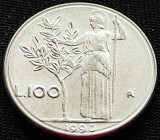 Moneda 100 LIRE - ITALIA, anul 1990 *cod 896 = modelul mic, Europa