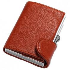 Portofel RFID iUni P5, 8 carduri, Maro