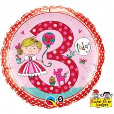 Balon aniversar 3 ani din folie cu printesa 43cm