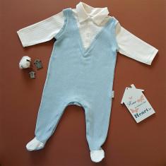 Salopeta blue cu guleras lana merino