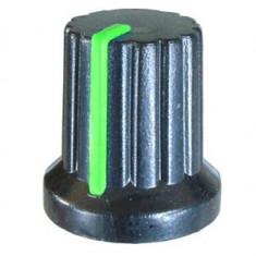 Buton pentru potentiometru, 15mm, plastic, negru-verde, 15x15mm - 127083