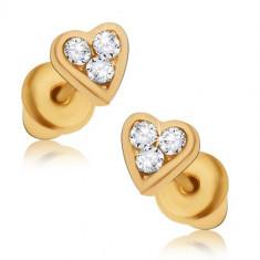 Cercei aurii cu tijă, mici inimi simetrice cu zirconiu