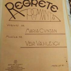 Regrete. Romanta, versuri de Maria Cuntan, muzica de Vesp. Vasilescu