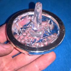 Suport inele sticla si metal argintat
