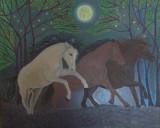 """Tablou in ulei pe panza """"Cai alergand"""" 45x55 cm"""