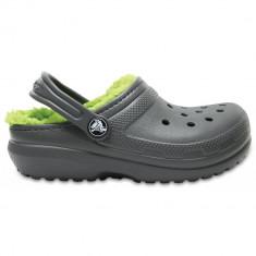 Saboți Copii casual Crocs Classic Lined Kids, 28.5, Gri