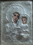 Icoana romaneasca pictata pe lemn Maica Domnului cu Pruncul cu ferecatura