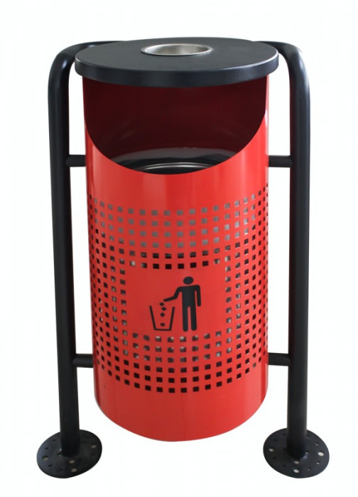 Coș de gunoi în exterior, rosu 36x36x91cm. MN0185112 Raki