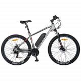 Bicicleta electrica CARPAT C1011E, cadru aluminiu, roti 27.5inch, frane mecanice disc, transmisie SHIMANO 21 viteze, motor 250W (Gri/Alb)