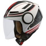 Cumpara ieftin Casca moto scuter SMK STREEM SONIC GL123 culoarea negru rosu alb, marimea L unisex