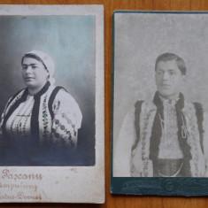 2 fotografii pe carton , costume populare , Campulung , Bucovina , 1900