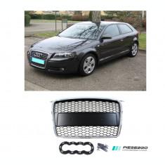 Grila radiator RS Look Audi A3 2005|2006|2007|2008 Negru bandou rama cromata