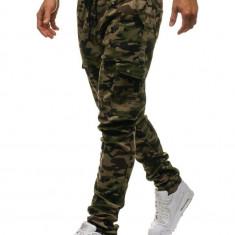 Pantaloni cargo pentru bărbat camuflaj-verzi Bolf 0857