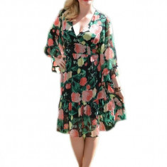 Rochie casual, aspect floral si maneci asimetrice RO-1229-VO