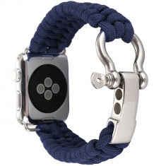 Cumpara ieftin Curea pentru Apple Watch 44 mm iUni Elastic Paracord Rugged Nylon Rope, Midnight Blue