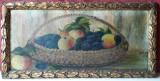 Cos cu fructe, pictura veche 1937, ulei pe panza