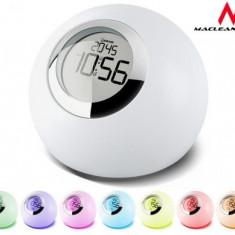 Ceas Decorativ Desteptator Elegant cu Afisaj LED RGB Multicolor