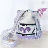 Geanta mov motive geometrice lavanda handmade crosetata