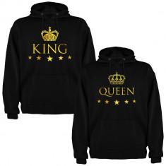 Set 2 Hanorace cuplu King si Queen, negru/auriu