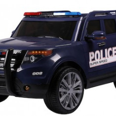 Masinuta electrica SUV de Politie cu sirena, girofar si megafon, albastru