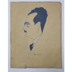 BARBAT CU MUSTATA , DESEN SEMNAT , DATAT 1931