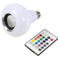 Bec Muzical Inteligent cu Led, Bluetooth si telecomanda iUni DF18, 3W, Lumini Colorate