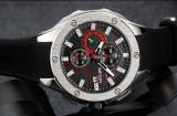 Cumpara ieftin Ceas Megir 8135 - Sport Cronograf Negru - Rosu Curea Silicon