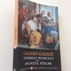 GALILEO GALILEI, SIDEREUS NUNCIUS SAU ANUNTUL STELAR. TRADUCERE DIN LATINA
