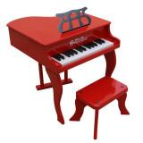 Pian de lemn pentru copii, scaun inclus, 48 cm, rosu