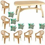 Set gradina King masa 90x150 cm cu 6 scaune Carnaval culoare bej,6 perne scaun B001165 Raki