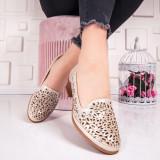 Pantofi cu toc mic dama bej Paniolia