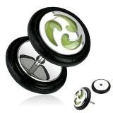 Plug fals pentru ureche, din oţel, argintiu, spirale fosforescente
