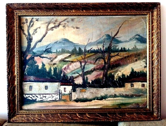 Tablou scoala baimareana, pictura ulei pe panza - sat romanesc