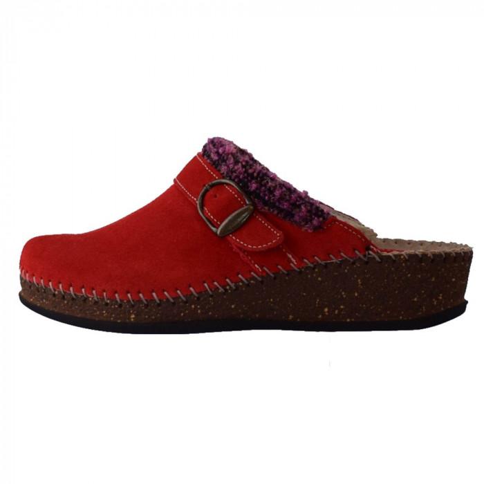 Papuci de casa dama, din piele naturala, marca Walk, 1124-16990-5, rosu , marime: 35