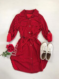 Cumpara ieftin Rochie ieftina casual stil camasa rosie si neagra cu linii verticale si cordon in talie