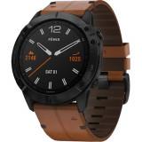 Smartwatch Fenix 6X Sapphire Black DLC Si Curea Piele Maro