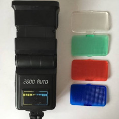 Blitz vintage (pentru piese) si 4 filtre blitz colorate - vechi, vintage
