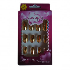 Tipsuri colorate pentru manichiura Dudupig, 12 bucati, lipici inclus, Auriu