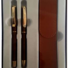 "Set stilou+pix+etui CRESCO EXCLUSIVE ""S"", metalic 8301471, model ES-02 bronz, cutie cadou"