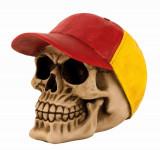 Pusculita din Ceramica NAGO Craniu Uman model cu Sapca Rosu Galben H13cm l 15cm