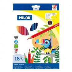 Set 18 Creioane Color MILAN, 18 Culori Diferite, Corp Hexagonal din Lemn, Creioane Colorate, Creioane MILANO, Set Creioane Colorate, Creion Colorat, C