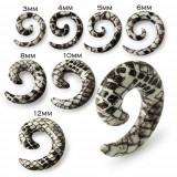 Plug pentru ureche în formă de melc - expander în alb şi maro cu model de şarpe - Lățime: 6 mm