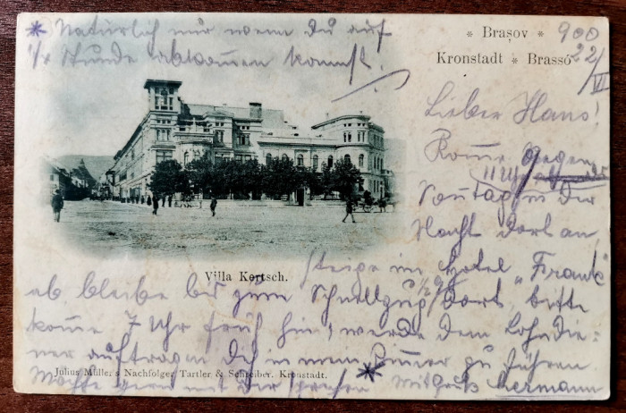 1900 Brasov Villa Kertsch clasica circulata timbru intact Editura Julius Muller