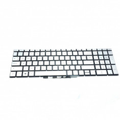 Tastatura Laptop HP Pavilion 15-DB iluminata argintiu